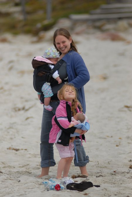Luckily I was not the only mother carrying a baby on the beach.