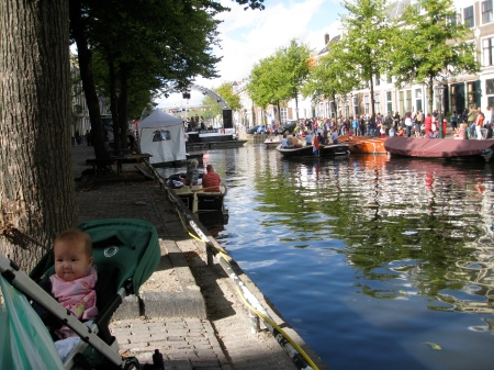 You can see from this photo that the city set up a stage in the middle of the main canal for the weekend.  Talia was not particularly impressed with the music.